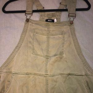 Olive green loose fitting overalls